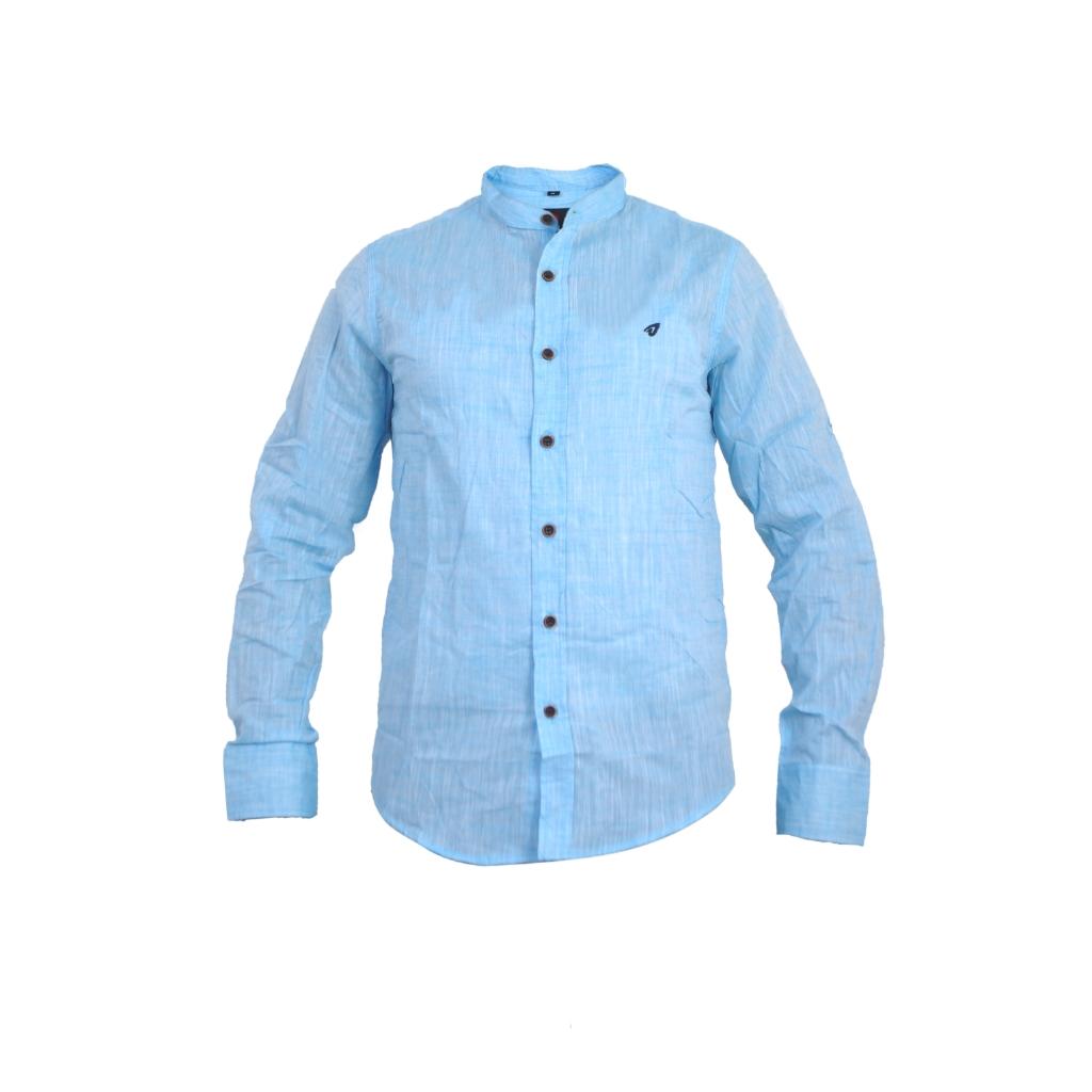 Long sleeved light blue  mens casual shirt