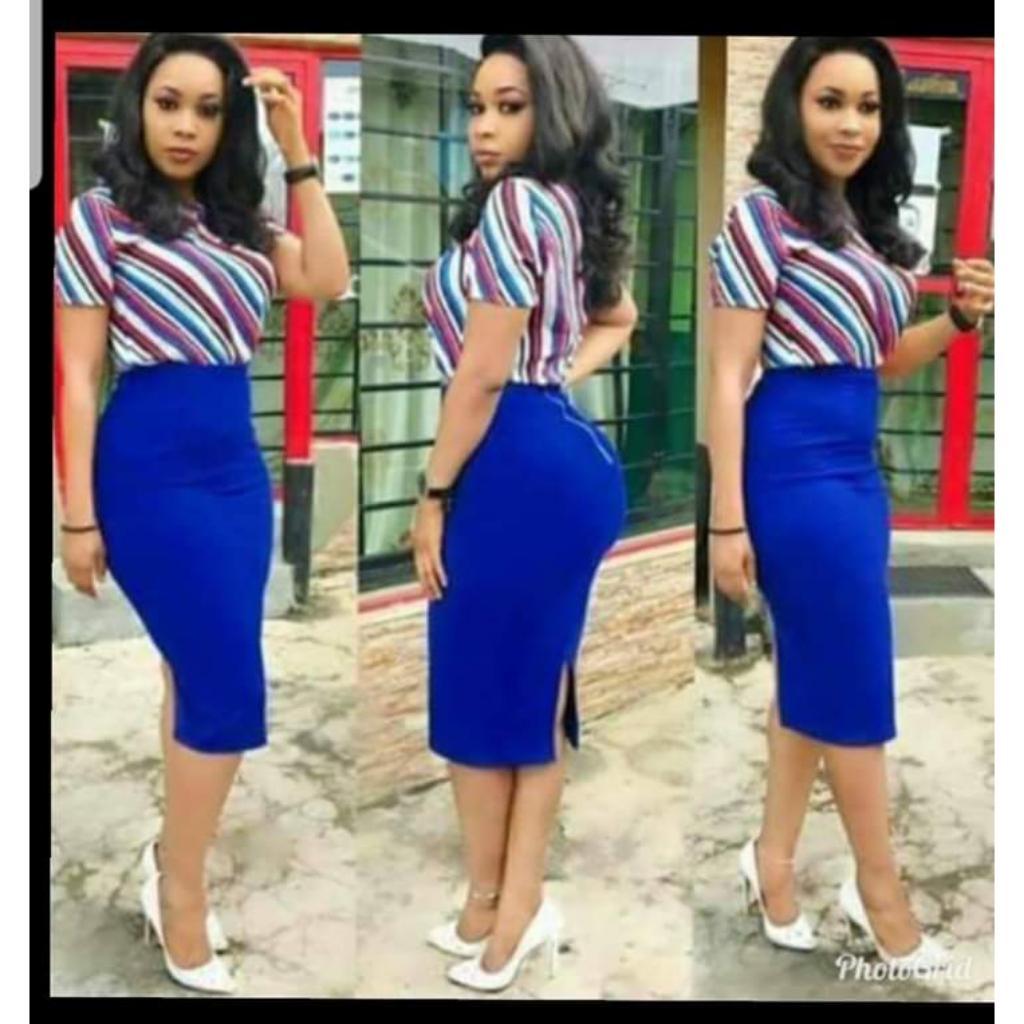 Womens blue pencil skirt