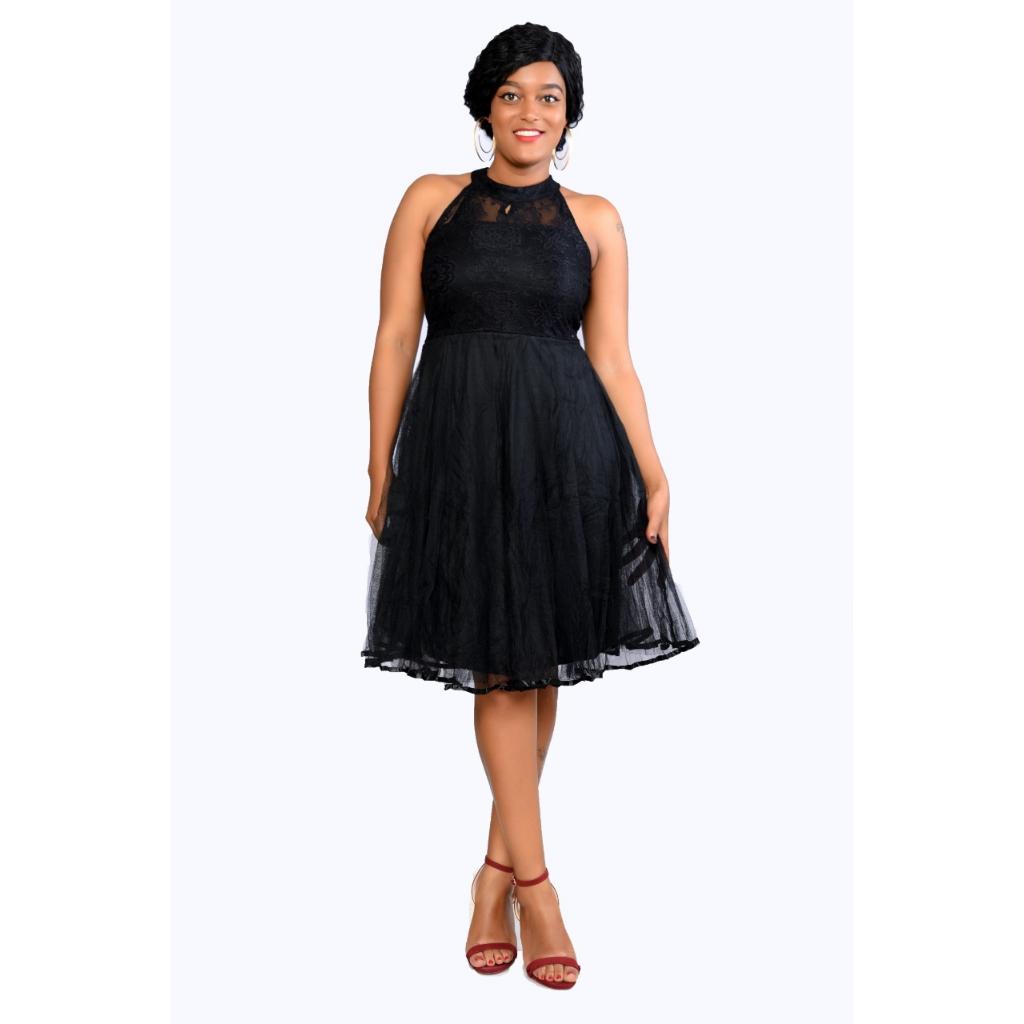Black ladies skater dress