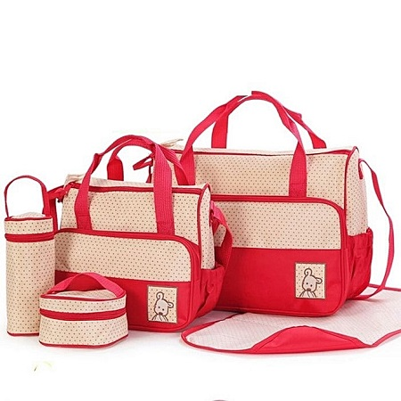 5 pc Shoulder Diaper Bag/Nappy Bag-Red