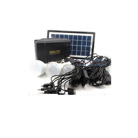 GDLITE Solar Panel, LED three Lights And Phone Charging Kit