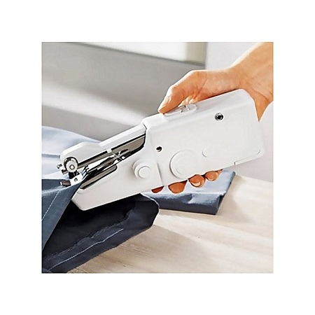 Portable Household Electric Handheld Sewing Machine Battery Powered - white