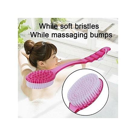 Long Handle Ultra Soft Bath Shower Brush Skin Massage Back Rubbing Brush - Pink