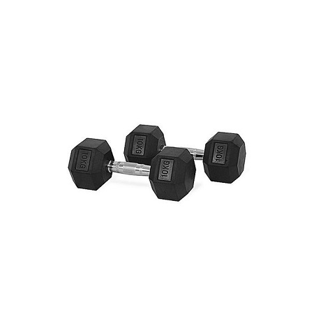 Generic 10kg pair fixed(Hexagon shaped) rubber dumbbells gym fitness