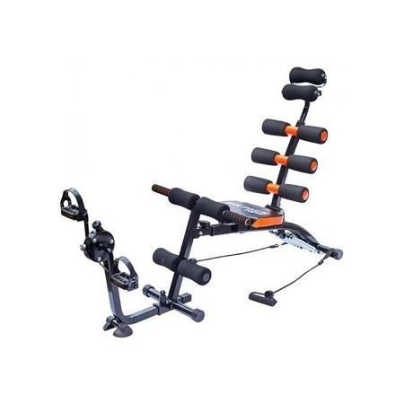 Generic Multifunction Abdominal Six Pack Care Bench With Pedals- Black and Orange