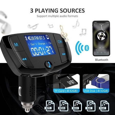 Generic T38 Wireless FM Transmitter Stand By Handsfree Call Bluetooth Car MP3 Player Car Charger WWD