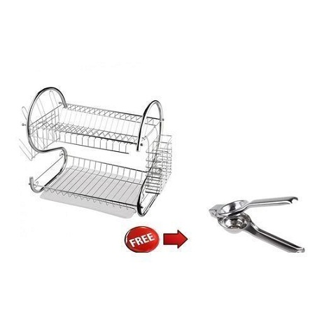 2 Tier Stainless Steel Dish Rack Silver+ FREE Lemon Squeezer