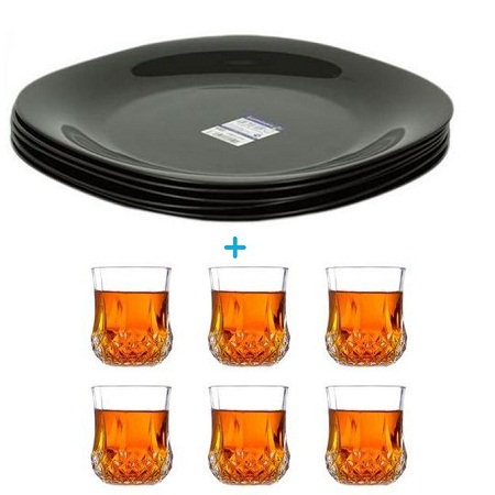 Luminarc 6-Set Dinner Plates + Free 6-Set Water/Whiskey Glasses