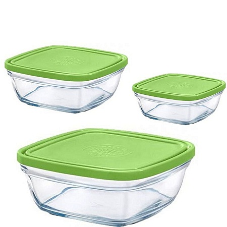 Duralex 3pc Green Glass Containers