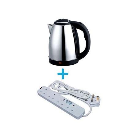 Modern Electric Kettle - 2L - Plus Free Heavy Duty 4 Way Extension.