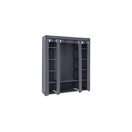 3Column Wooden Portable Wardrobe-grey