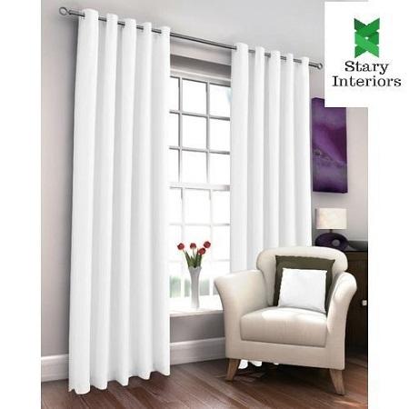 White Curtain (2M) (2Panels,each 1M) + FREE WHITE SHEER