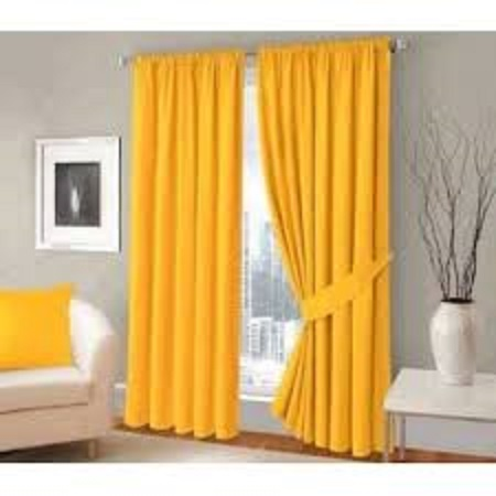 Yellow Curtain (4M) (2Panels,each 2M) + FREE WHITE SHEER