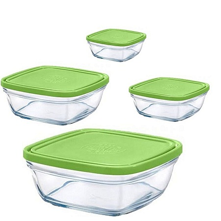 Duralex 4pc Green Glass Containers
