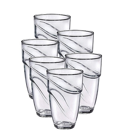 Generic Duralex Wave Glass Tumbler (Set of 6), 270ml, Clear