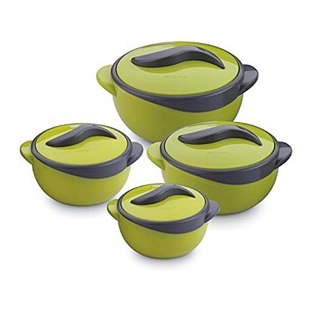 Pinnacle Set of 4 Parisa Thermo Dish Hot or Cold Casserole Serving Bowls with Lids Solid green