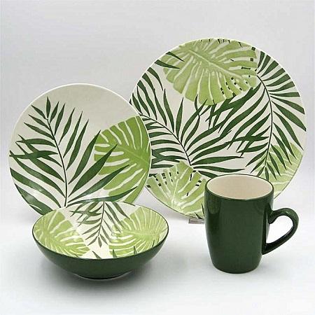 thomson pottery 16pc Dinner set Palm Tree Green
