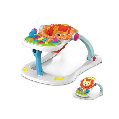 Multifunctional musical lion four in one baby walker- white