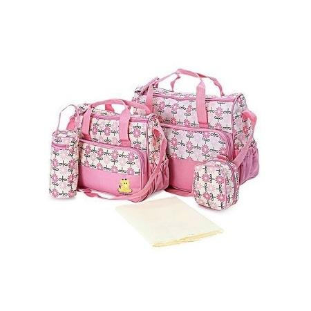 5 Piece Diaper/ baby bag - Pink