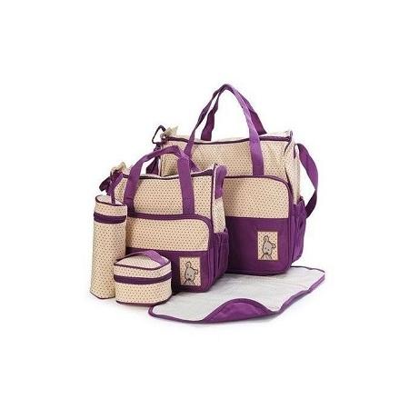 5piece Diaper Bag,Waterproof Nappy Bag For Travel - Purple