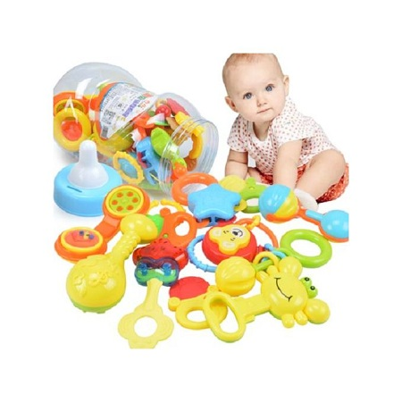 Colourful Baby Bank with Rattles, Teether and Toddler Shakers Set (12 PCS)