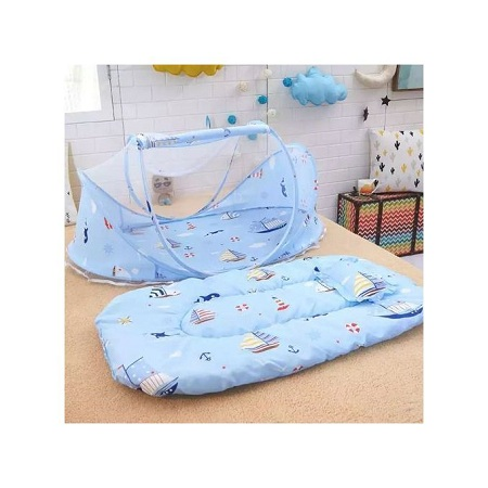 Fashion Portable & Foldable Baby Bassinet/Sleeping Nest/ Cot/ Mosquito Net - Blue