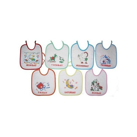 Waterproof Soft Baby Bibs- All Days of the Week ( Set of 7)