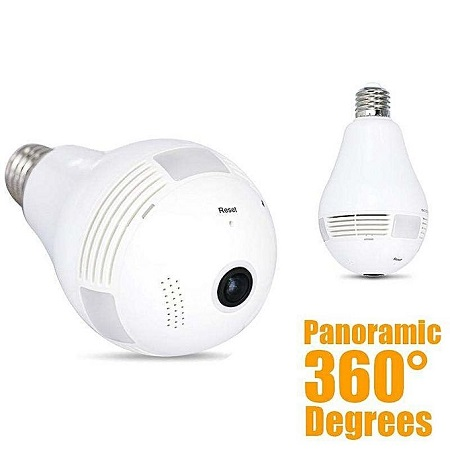 Panorama Nanny Camera , Panoramic 1080P 360 Degree Night Vision , Wifi Light Bulb Camera