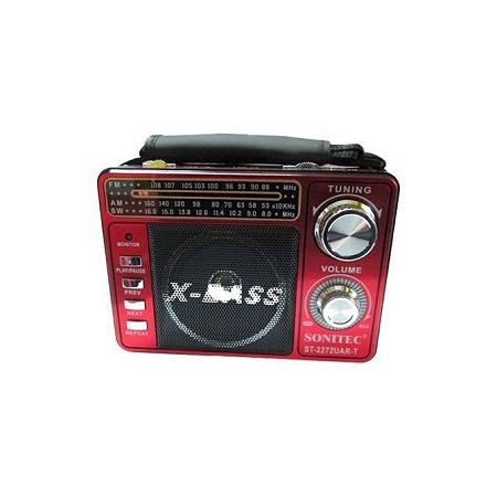Sonitec Rechargeable 3 Band World Radio With MP3 Radio TF Card Torch - Red