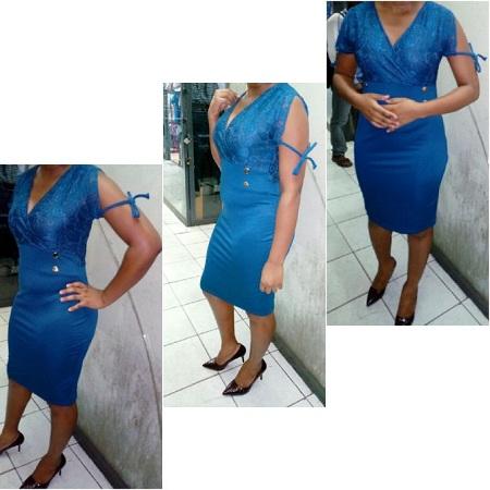 Fashion V- Neck Official Pencil Dress ( Turquoise Blue)