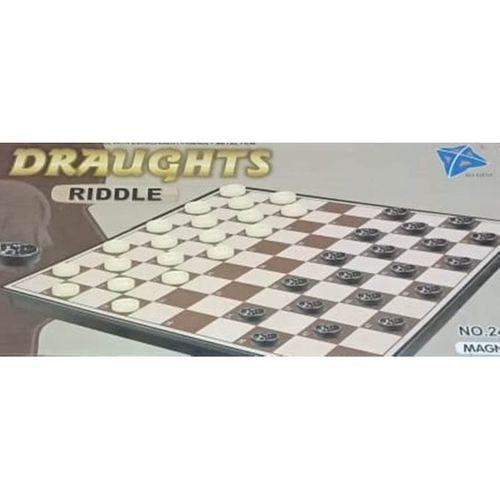 Magnetic Draught Riddle Checkers Family Board Game & Toy