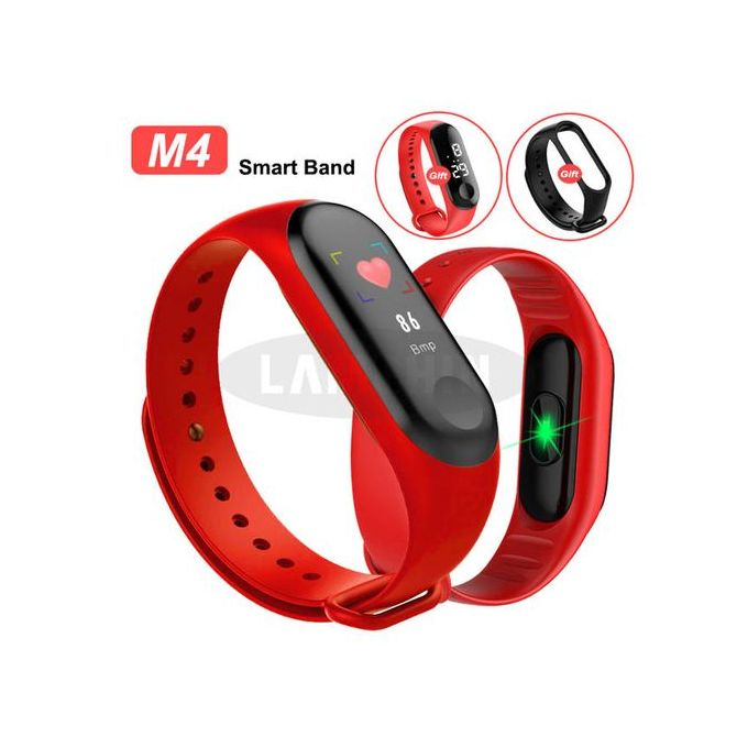 M4 Plus Connected M4 Sports Bracelet Pedometer Heart Rate- RED