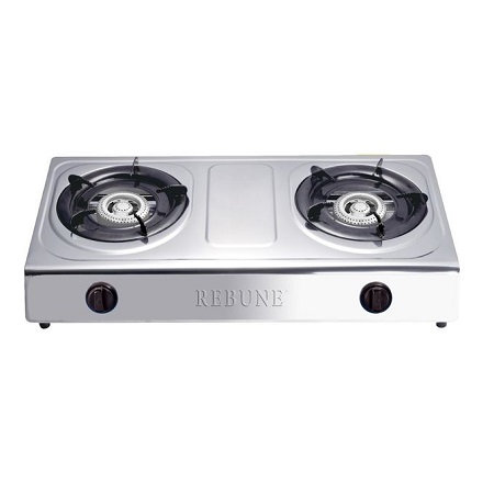 Rebune Gas Stove 2 Burner-Stainless Steel (Silver)