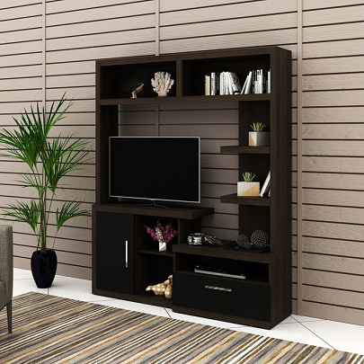 Tecno Mobili ENTERTAINMENT WALL UNIT For Up To 42 Inch TV - TABACCO/BLACK