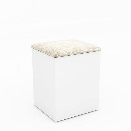 Tecno Mobili PUFF PADDED STORAGE STOOL - White BP / Pearl Floral