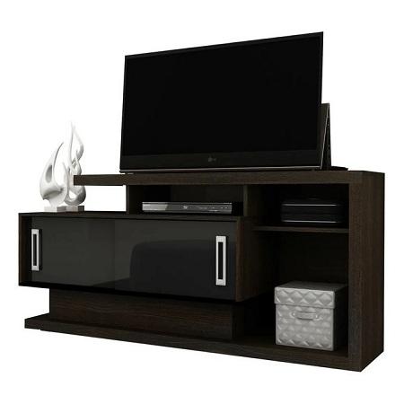 Tecno Mobili TV Stand Rack For 50' TV - MATT TOBACCO / GLOSS BLACK DOORS