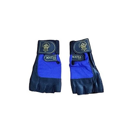 Matsa Blue Leather Gym Single Strap Gloves