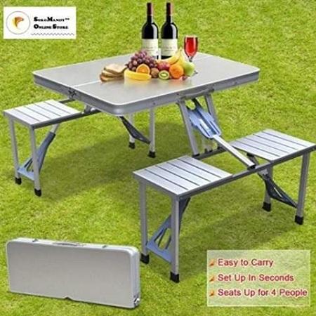 Alluminium outdoor picnic table set