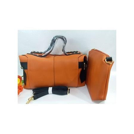 2 in 1 Orange PU Leather Hand Bag