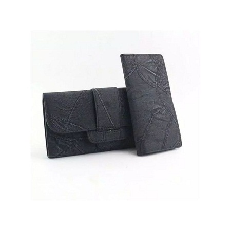 Black 2 in 1 Pu leather wallet