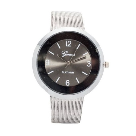Geneva Silver Unisex Stainless Steel Strap Watch With Grey Face..