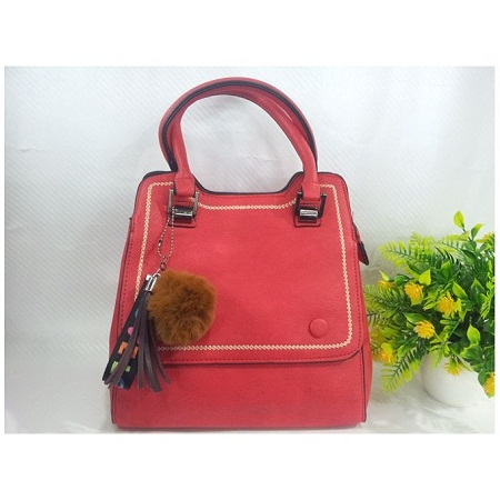 Red PU Leather Hand Bag
