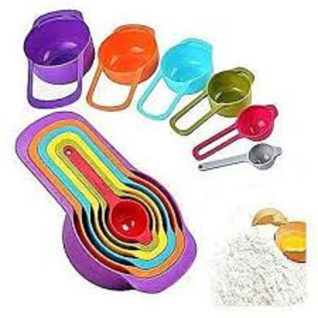 Measuring Cup And Spoon Set- Stackable Colorful Plastic For Kitchen Baking Tools