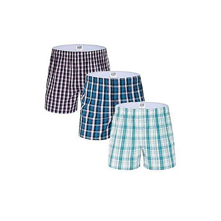 Fashion Boxer Shorts - 3 Pieces-Pure Cotton - Checked (Random color)