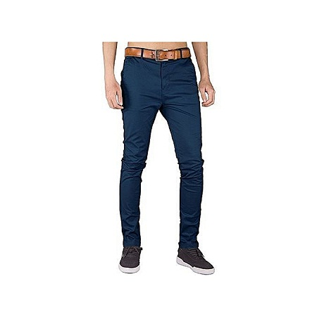 Fashion Soft Khaki Men's Trouser Stretch Slim Fit Official Casual- Navy Blue+Free pair of socks