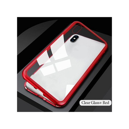 Metal Magnetic Case for iPhone 8 Plus 7 + Case(Clear Red)