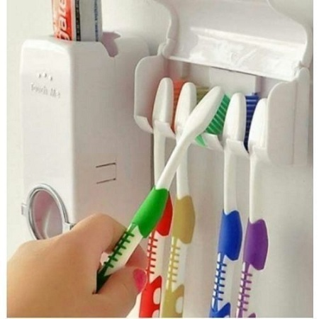 Toothpaste Dispenser with tooth brush holders