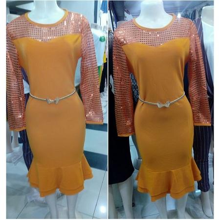 Fashion Mustard Yellow Mermaid Dress