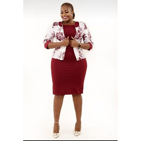 Fashion Official Maroon And White Bodycon Dress Suit