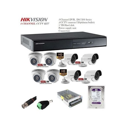 Hikvision 8-camera pack CCTV KIT, 1TB harddisk